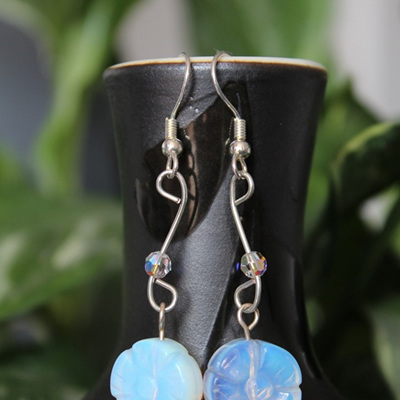 Sea opal flower earrings