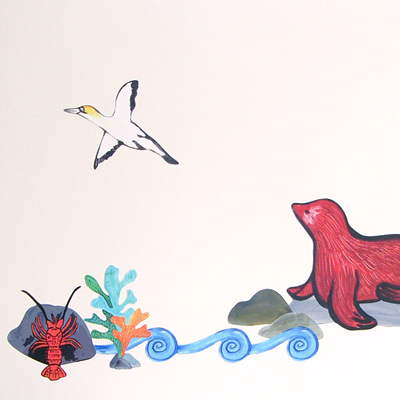 Seal and Crayfish wall decal