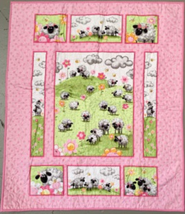 Sean the Sheep  Cot Quilt (pink)