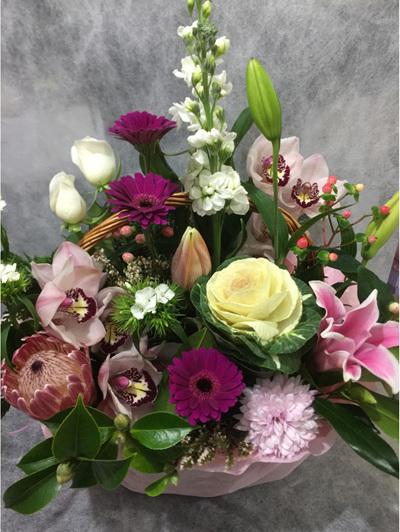 Seasonal Pink Basket Arrangement