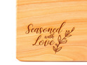 seasoned with love - macrocarpa chopping board