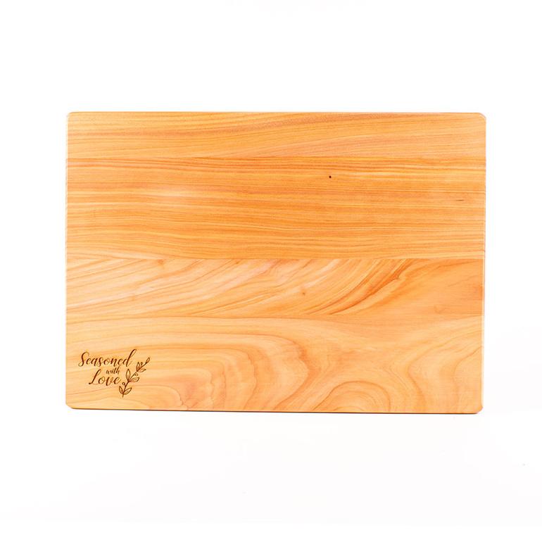 seasoned with love macrocarpa chopping board