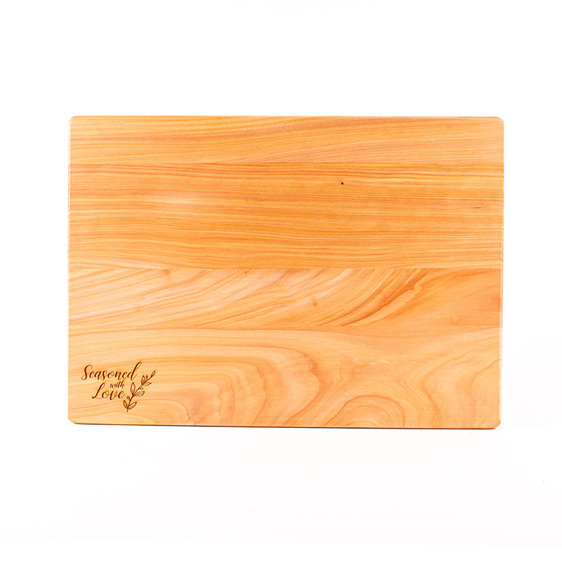 seasoned with love macrocarpa chopping board