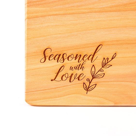 seasoned with love - macrocarpa chopping board