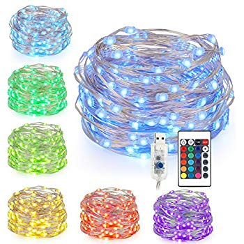 5m USB Plug Silver Wire 16 Colors Seed String Fairy Lights