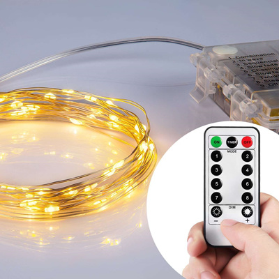10m Silver Wire Battery Seed Lights With Remote Control Warm OR Cool White