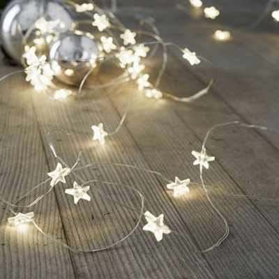 2m Silver Wire Battery Stars Seed Lights - Warm White
