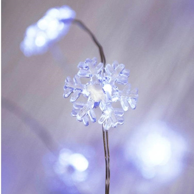 2m Silver Wire Snowflakes Battery Seed Lights - Cool White