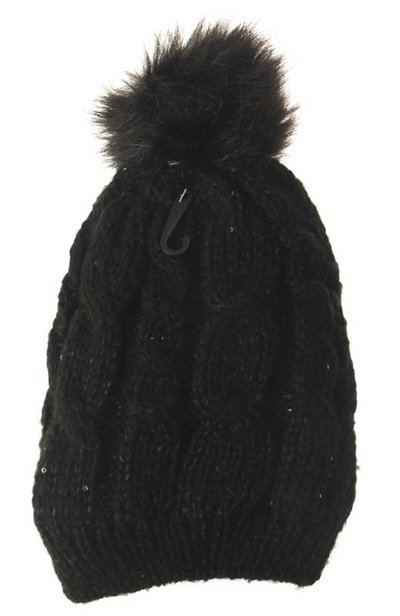 Sequin and Pompom Black Beanie (Adult)