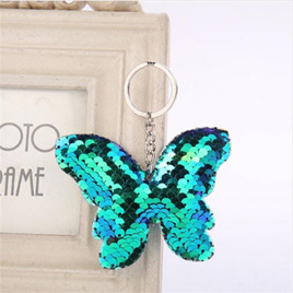 Sequin Keyring - Butterfly BLUE GREEN