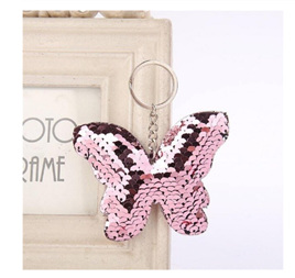 Sequin Keyring - Butterfly Light Pink
