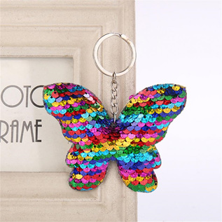 Sequin Keyring - Butterfly MULTI