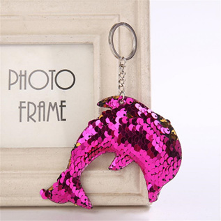 Sequin Keyring - Dolphin - Rose Pink