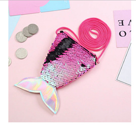 SEQUIN MERMAID TAIL COIN PURSE - HOT PINK