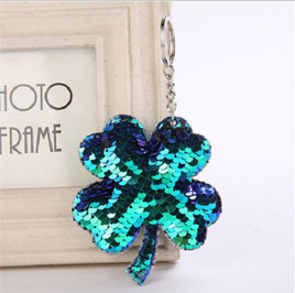 Sequined Lucky 4 Leaf Clover Keyring - BLUE/GREEN