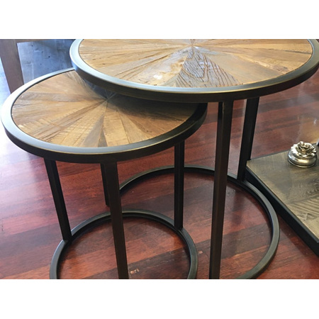 Set of 2 Round Nesting Tables in Recycled Elm with metal legs