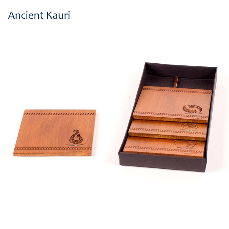 set of 4 coasters with engraved icon - ancient kauri - new zealand made