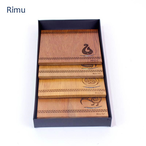 set of 4 coasters with engraved icons - rimu - made in new zealand