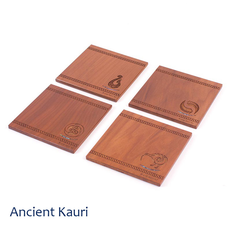set of 4 coasters with icon - ancient kauri - new zealand made