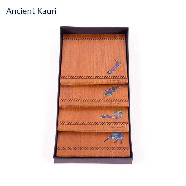 set of 4 coasters with paua icon - ancient kauri - new zealand made