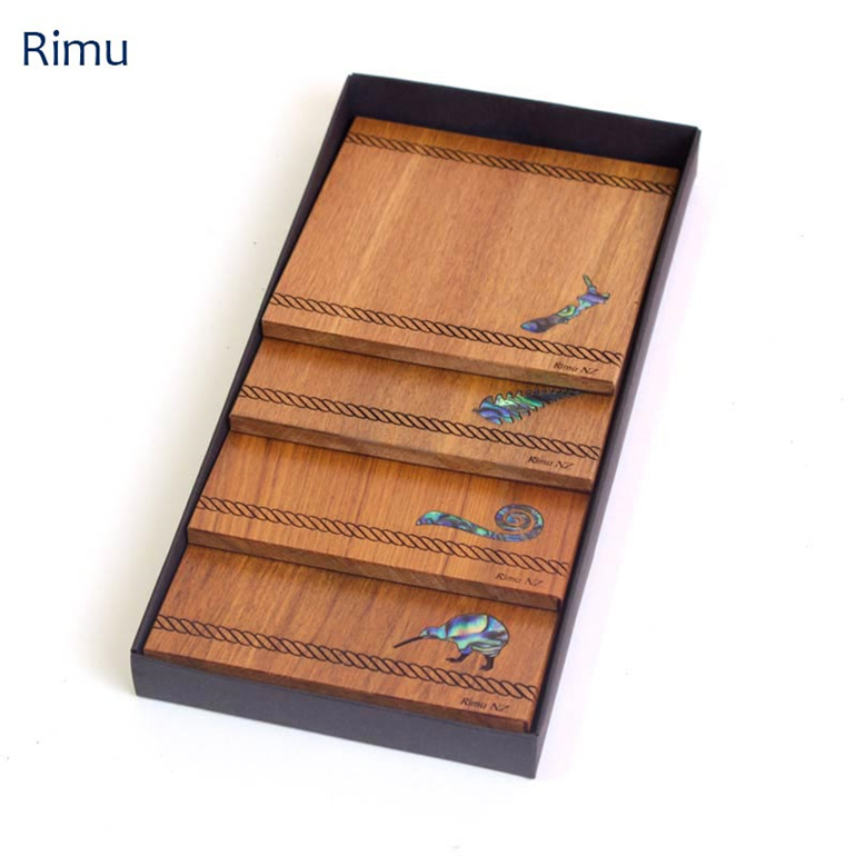 set of 4 coasters with paua icon - rimu - new zealand made
