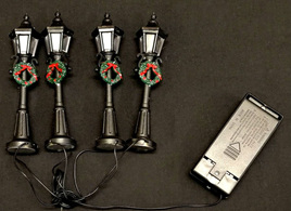 Set of 4 miniture strret lights - led, battery operated
