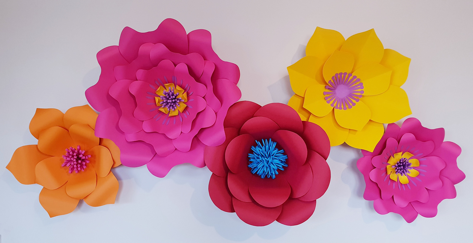 Set Of 5 Large Paper Flowers