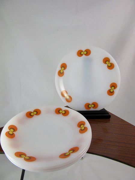 Set of 5 Vintage Schott Mainz Jena Glass Side Plates