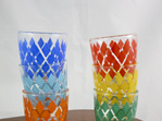 Set of 6 Colourful Vintage Shot Glasses With Diamond Design