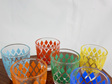 Set of 6 Colourful Vintage Shot Glasses With Diamond Design