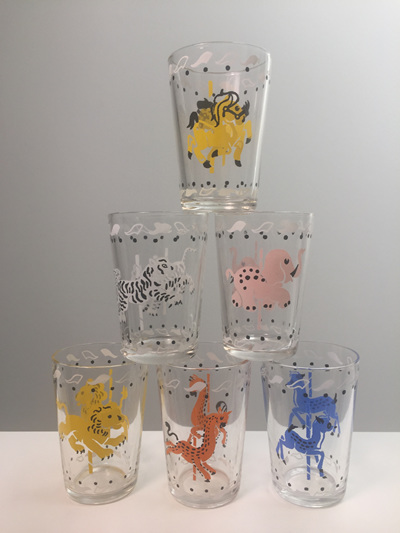 Set of 6 Vintage French Carousel Juice Glasses