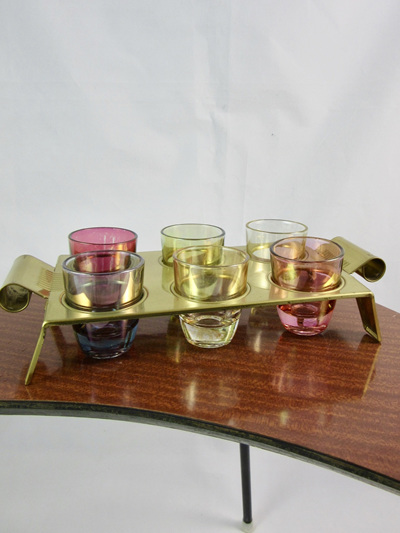 Set of 6 Vintage Schnapps Glasses with Metal Tray