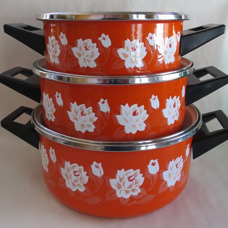 Set of three enamel pans