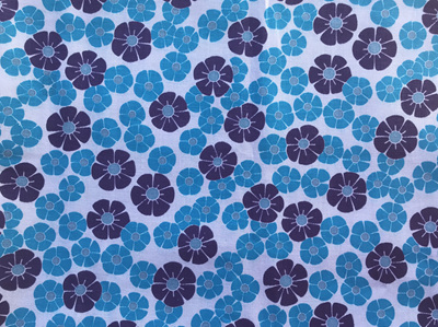 Shades of Blue Printed Floral Design Fabric 90cm x 300cm