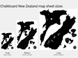 Sheet sizes for black chalkboard New Zealand map wall decals
