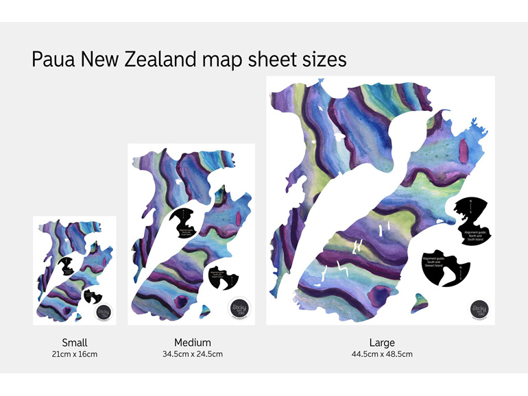 Sheet sizes for Paua New Zealand map wall decals