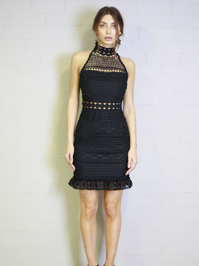 Shelley Turtle Neck Crochet Dress