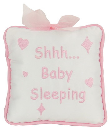 """Shh... Baby Sleeping"" Cushion Hanger: Pink"