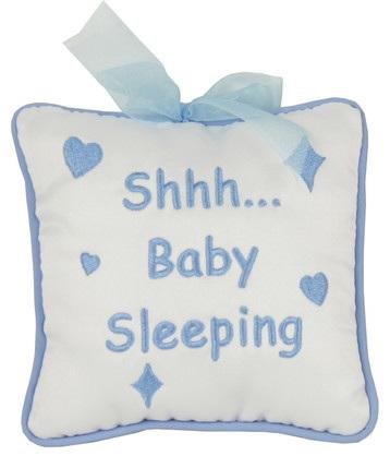 """Shh... Baby Sleeping"" Cushion Hanger: Blue"