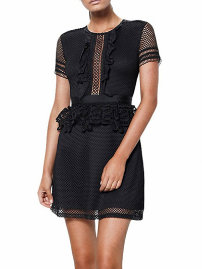 Shilla Prime Frill Detail Mini Dress Black-