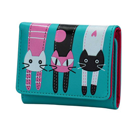 Short 3 Cats Ladies Wallet - Green
