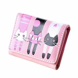 Short 3 Cats Ladies Wallet - Light Pink