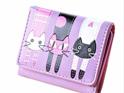 Short 3 Cats Ladies Wallet - Purple