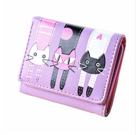 Short 3 Cats Ladies Wallet - Purple
