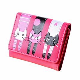 Short 3 Cats Ladies Wallet - Rose Pink