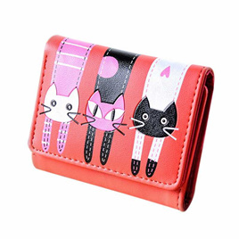 Short 3 Cats Ladies Wallet - Watermelon Red