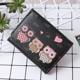 Short 3 Owl Wallet - Black