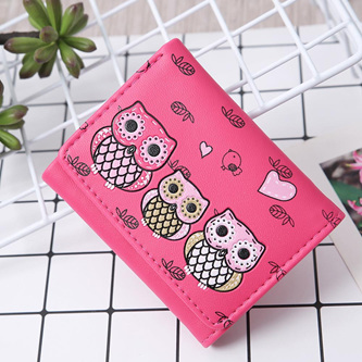 Short 3 Owl Wallet - Hot Pink