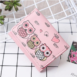 Short 3 Owl Wallet - Light Pink