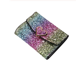 Short Glitter Sparkle Rainbow Wallet with Heart Clasp